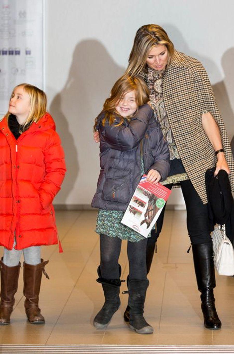 La reine Maxima et les princesses Alexia et Ariane au Jumping Amsterdam, le 1er février 2015