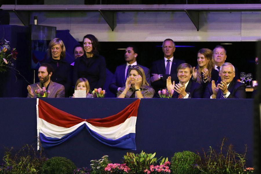 Le roi Willem-Alexander, la reine Maxima et la princesse Ariane au Jumping Amsterdam, le 1er février 2015