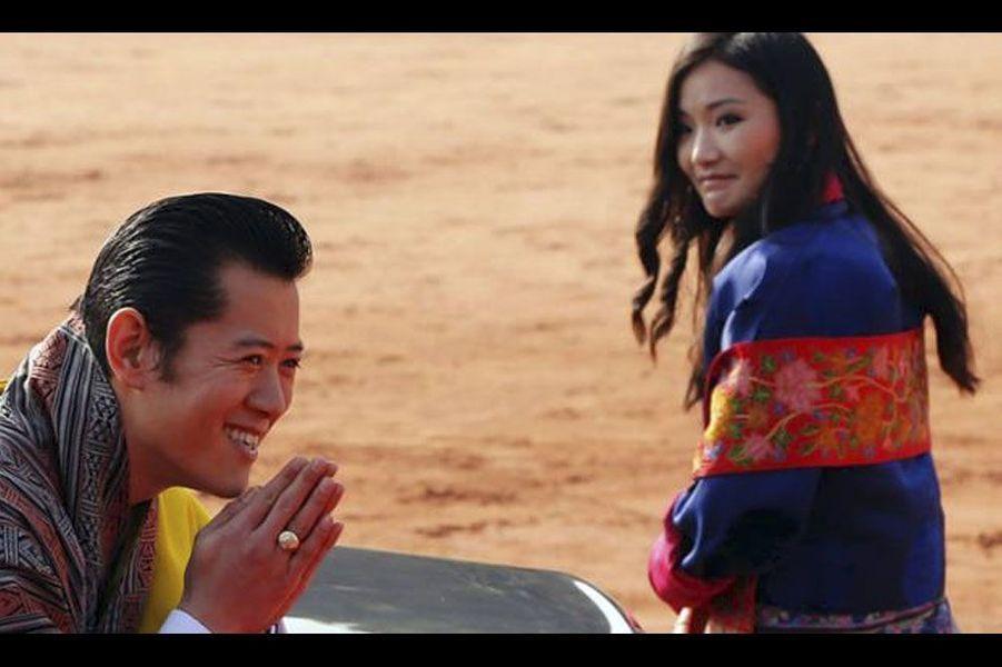 Le roi et la reine en 2012, lors d'un voyage en Inde.
