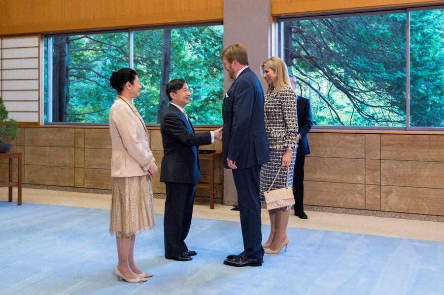 L'empereur Naruhito et l'impératriceMasako du Japon reçoivent la reine Maxima et le roi Willem-Alexander des Pays-Bas à Tokyo, le 23 octobre 2019