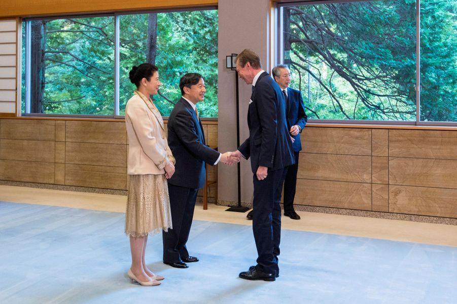 L'empereur Naruhito et l'impératriceMasako du Japon reçoivent le grand-duc Henri de Luxembourg à Tokyo, le 23 octobre 2019