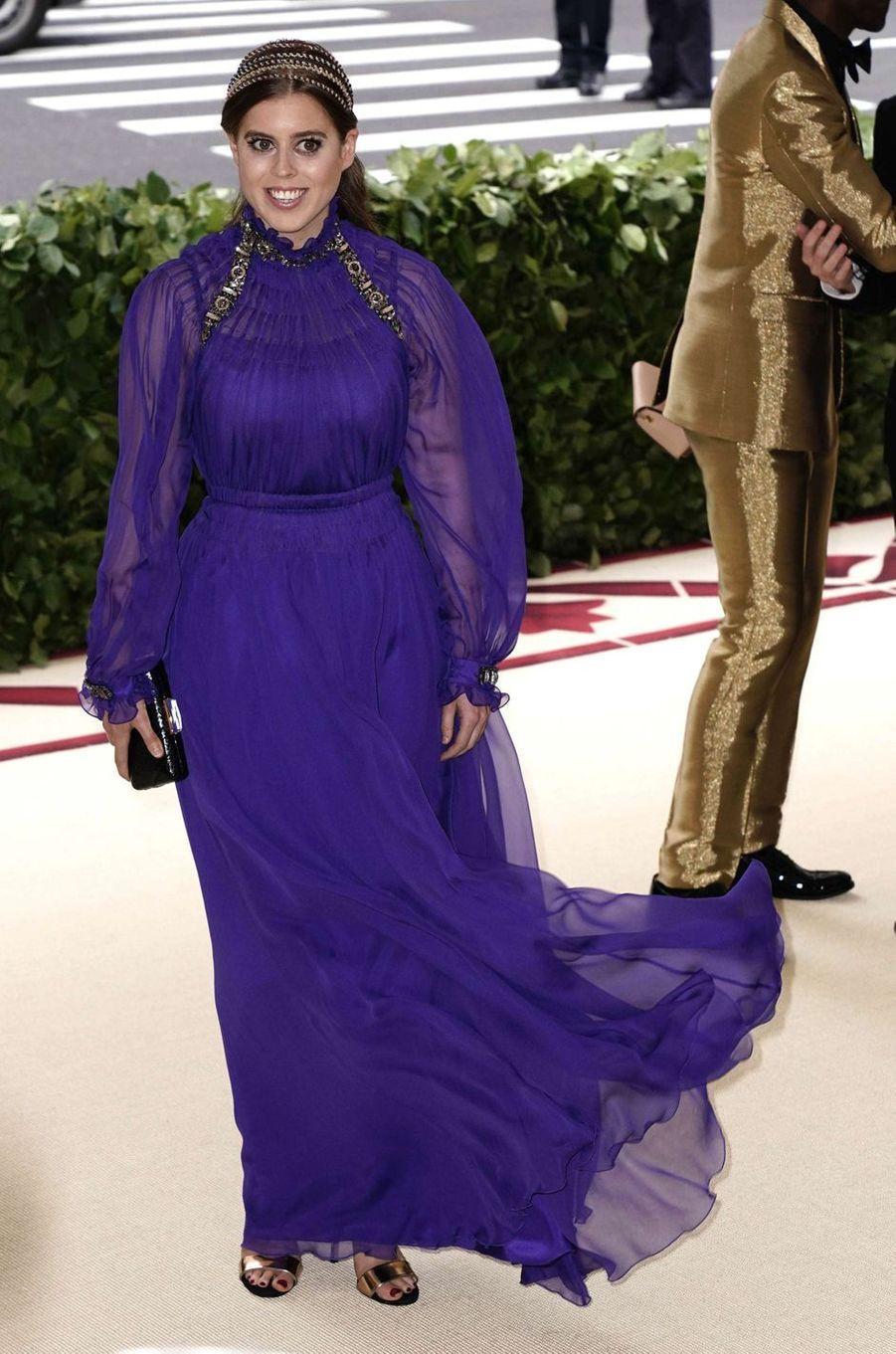 La princesse Beatrice d'York, en Alberta Ferretti, au Met Gala à New York le 7 mai 2018
