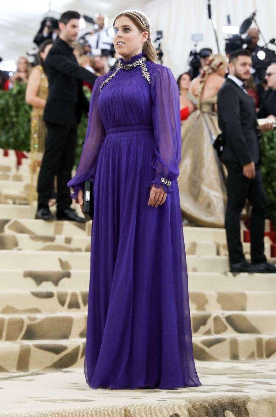 La princesse Beatrice d'York au Met Gala à New York, le 7 mai 2018