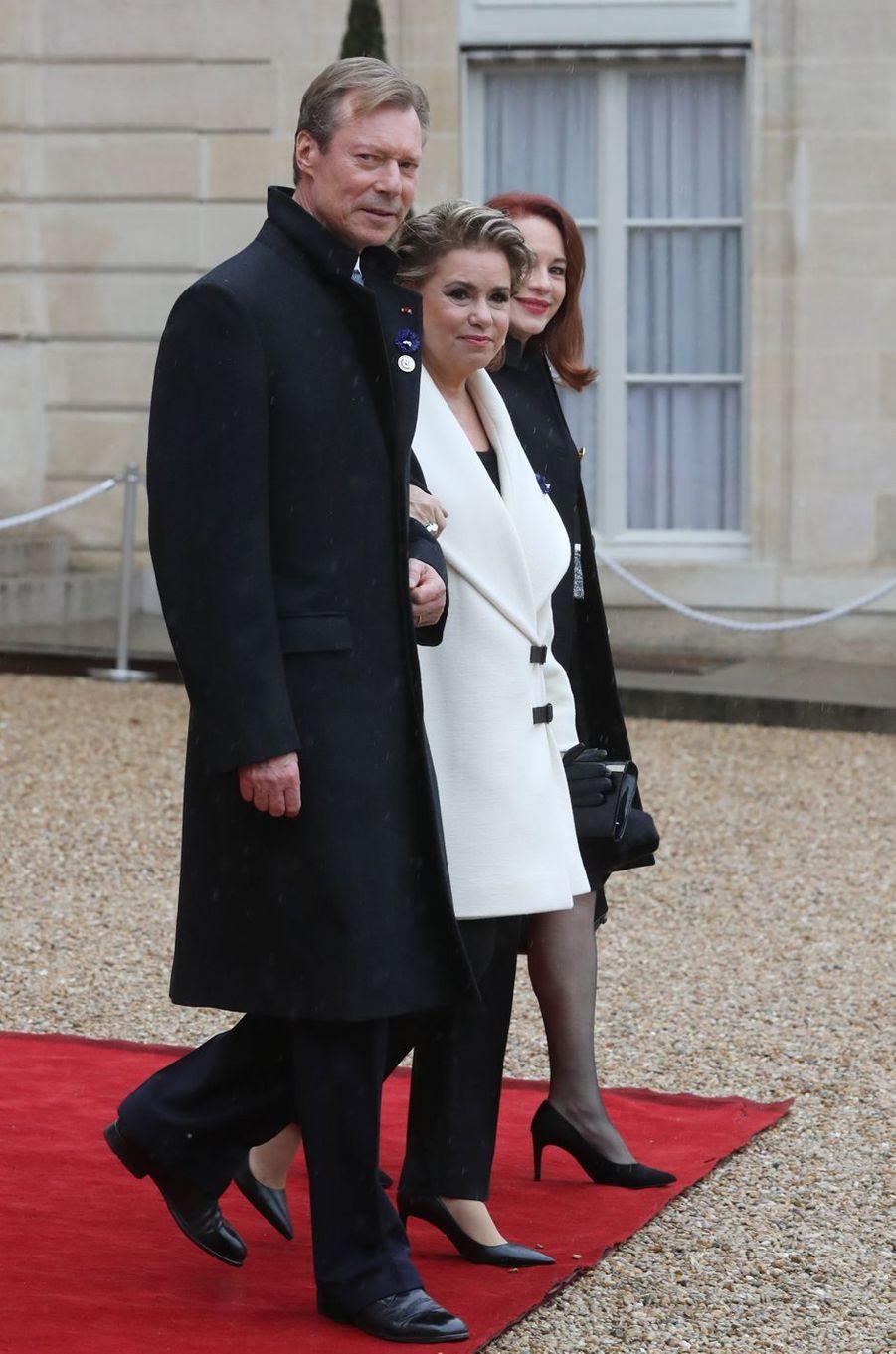 La grande-duchesse Maria Teresa et le grand-duc Henri de Luxembourg à Paris, le 11 novembre 2018