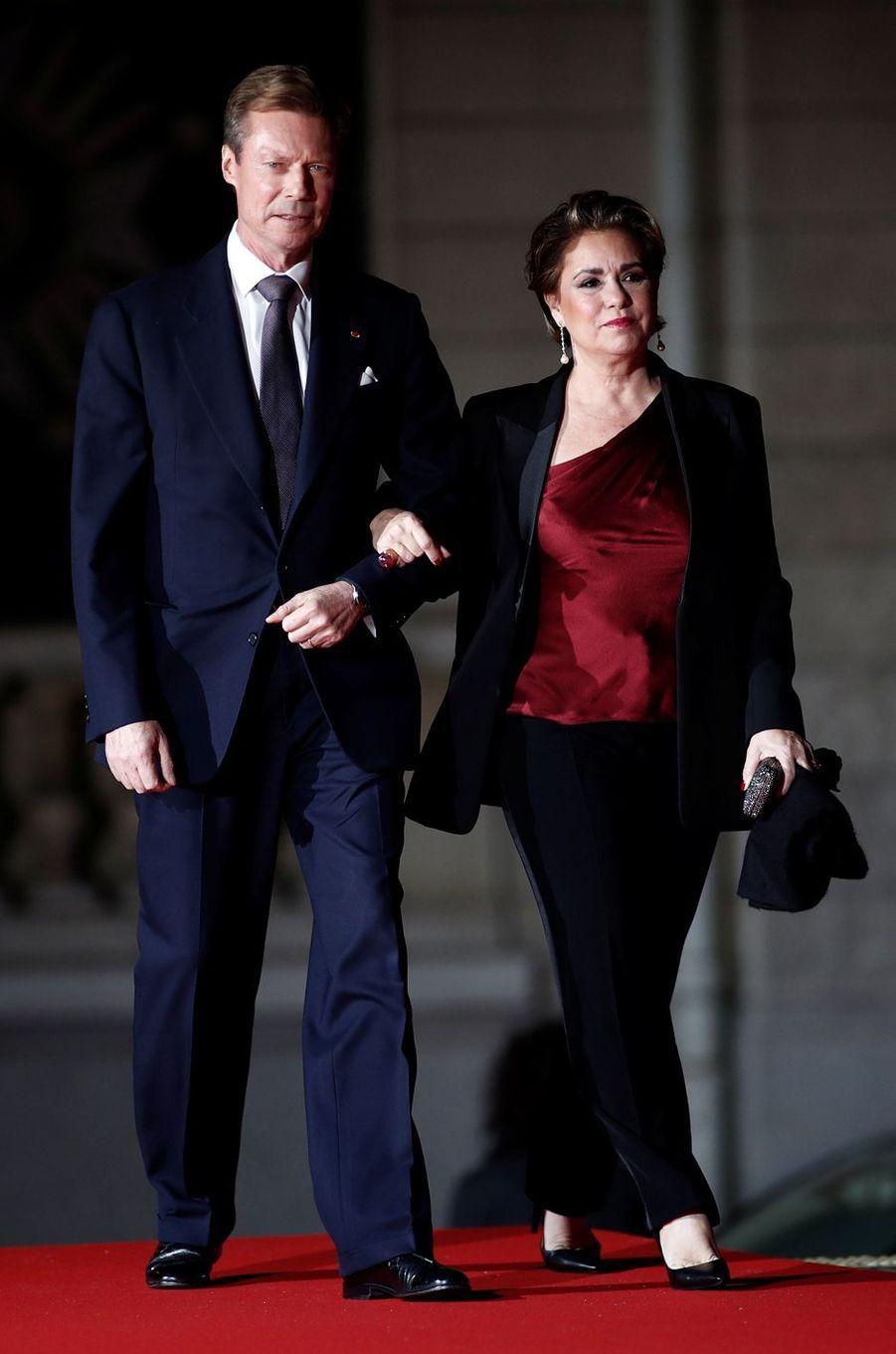 La grande-duchesse Maria Teresa et le grand-duc Henri de Luxembourg à Paris, le 10 novembre 2018