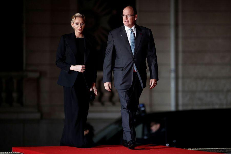 La princesse Charlène et le prince Albert II de Monaco à Paris, le 10 novembre 2018
