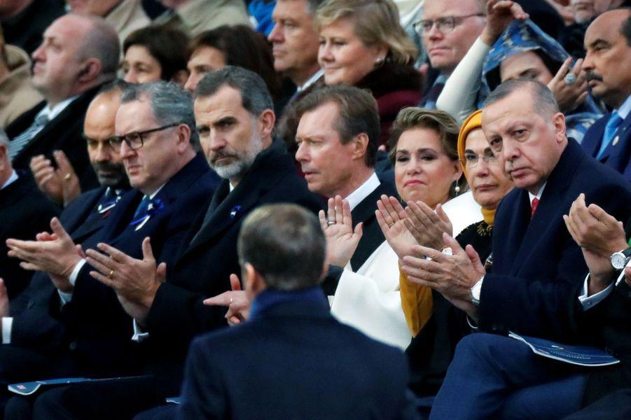 Le roi Felipe VI d'Espagne avec le grand-duc Henri et la grande-duchesse Maria Teresa de Luxembourg, le 11 novembre 2018