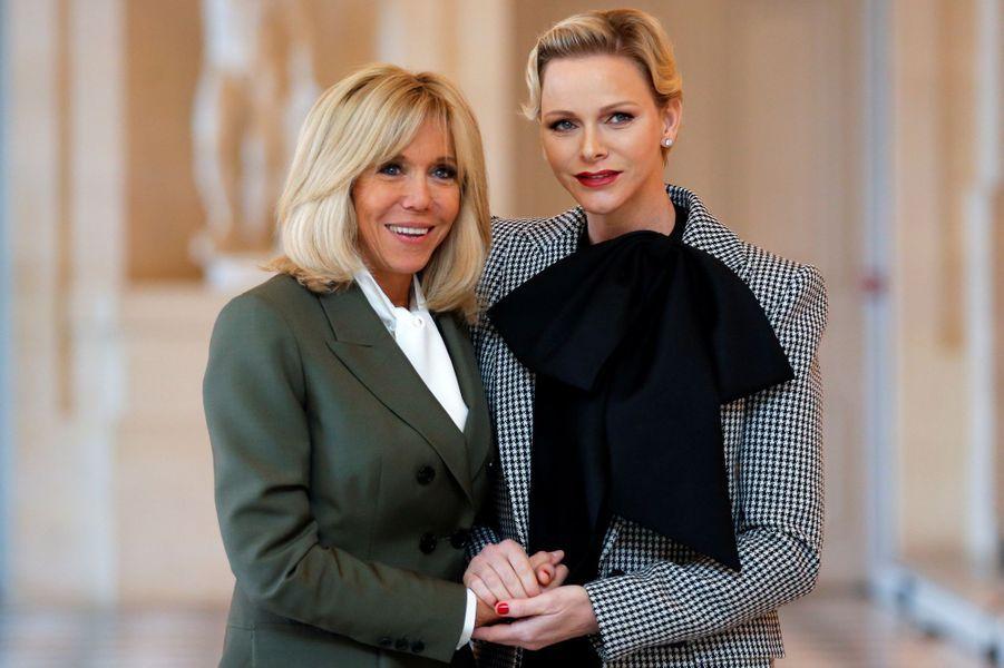 La princesse Charlène de Monaco avec Brigitte Macron à Versailles, le 11 novembre 2018