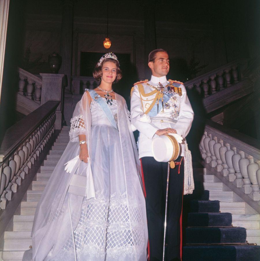 Le roi des Hellènes Constantin II et la princesse Anne-Marie de Danemark avant leur mariage, le 16 septembre 1964