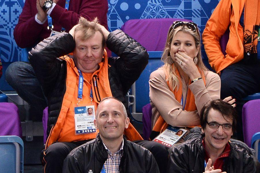 Désolation olympique pour Willem-Alexander et Maxima à Sochi, le 10 février 2014