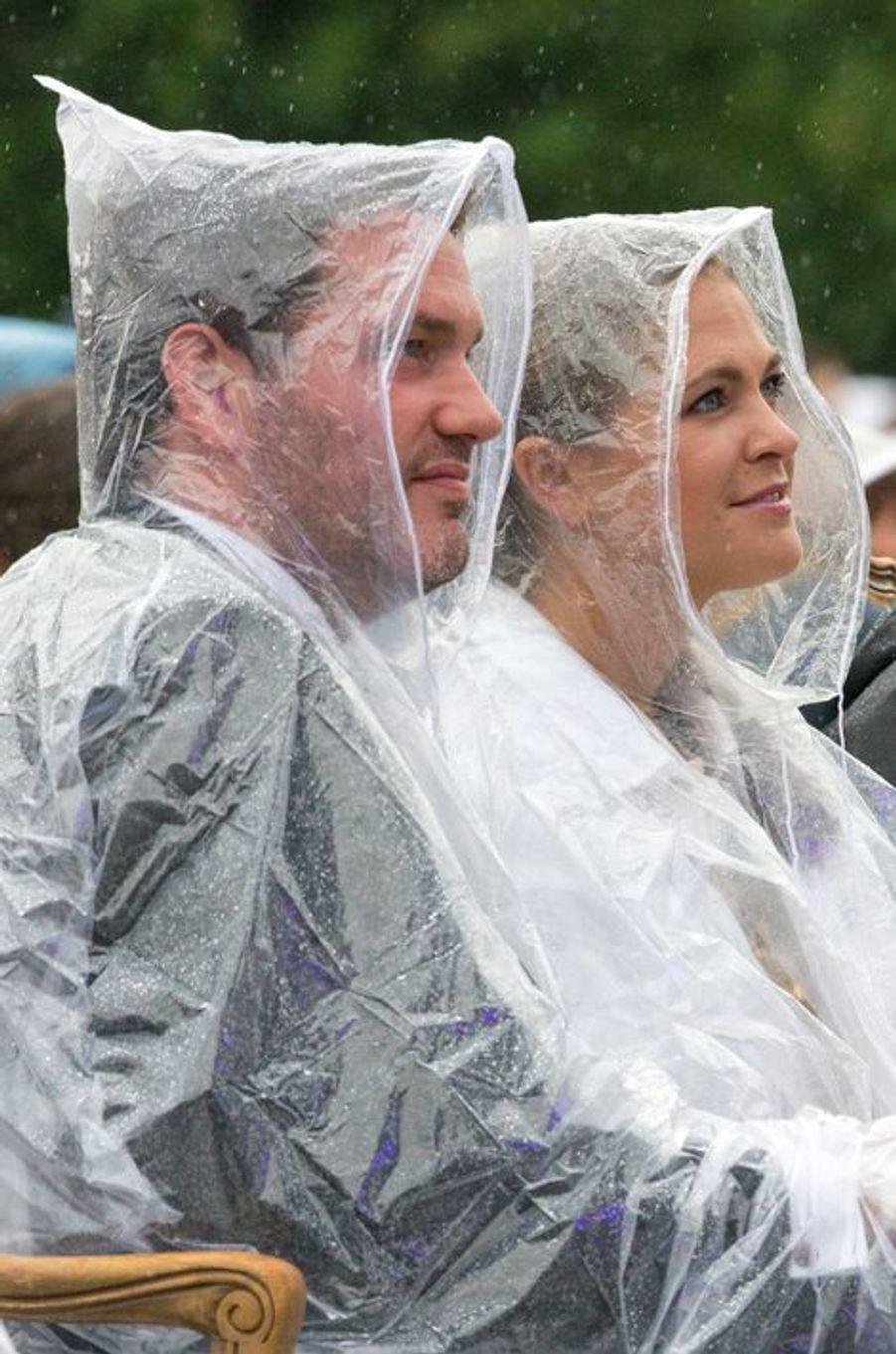 Madeleine de Suède et son mari transformés en Schtroumpfs à Borgholm, le 14 juillet 2014