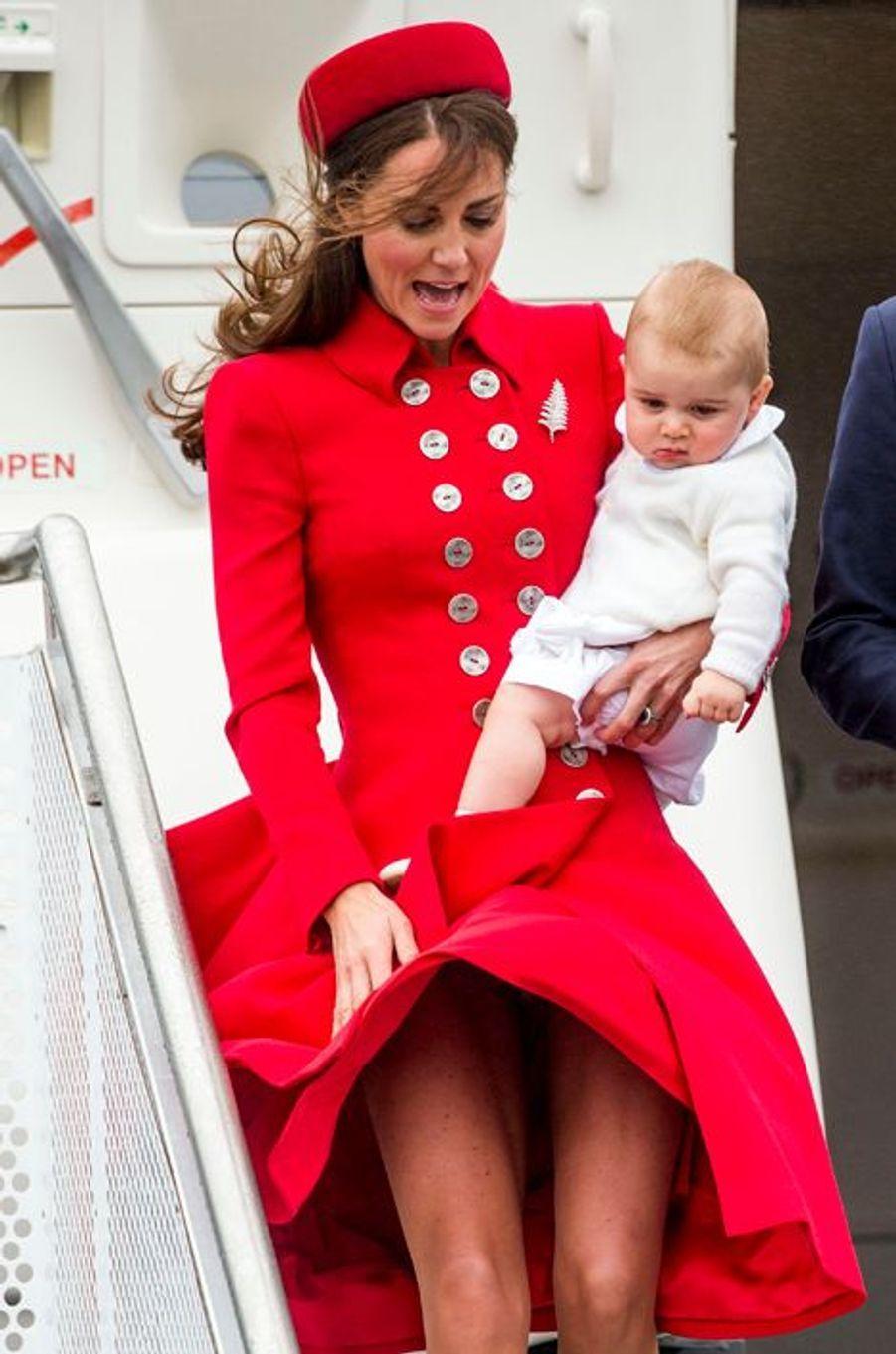 Malencontreux coup de vent pour Kate à Wellington en Nouvelle-Zélande, le 7 avril 2014