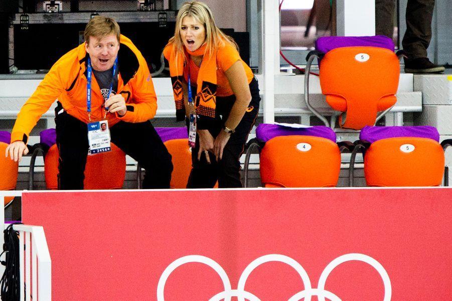 Maxima et Willem-Alexander des Pays-Bas à fond le sport à Sochi, le 9 février 2014
