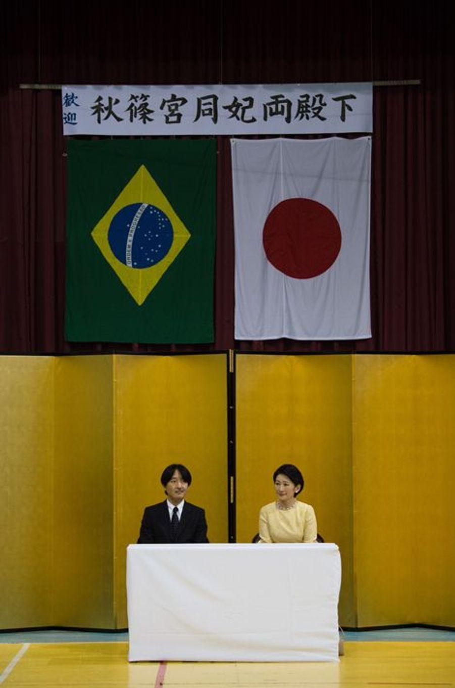 La princesse Kiko et le prince Akishino du Japon à Rio de Janeiro, le 8 novembre 2015
