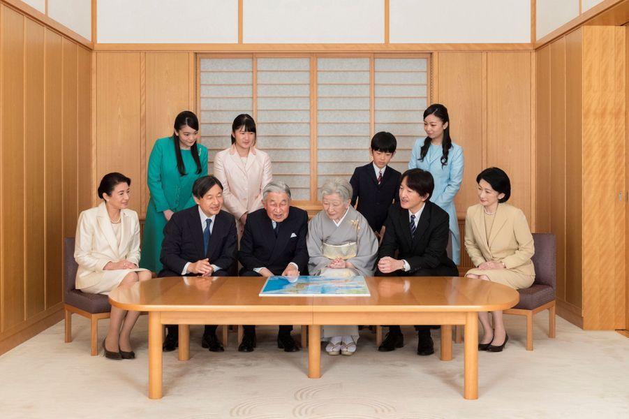 L'empereur Akihito et l'impératrice Michiko du Japon avec leur famille à Tokyo le 3 décembre 2018. Photo diffusée le 1er janvier 2019
