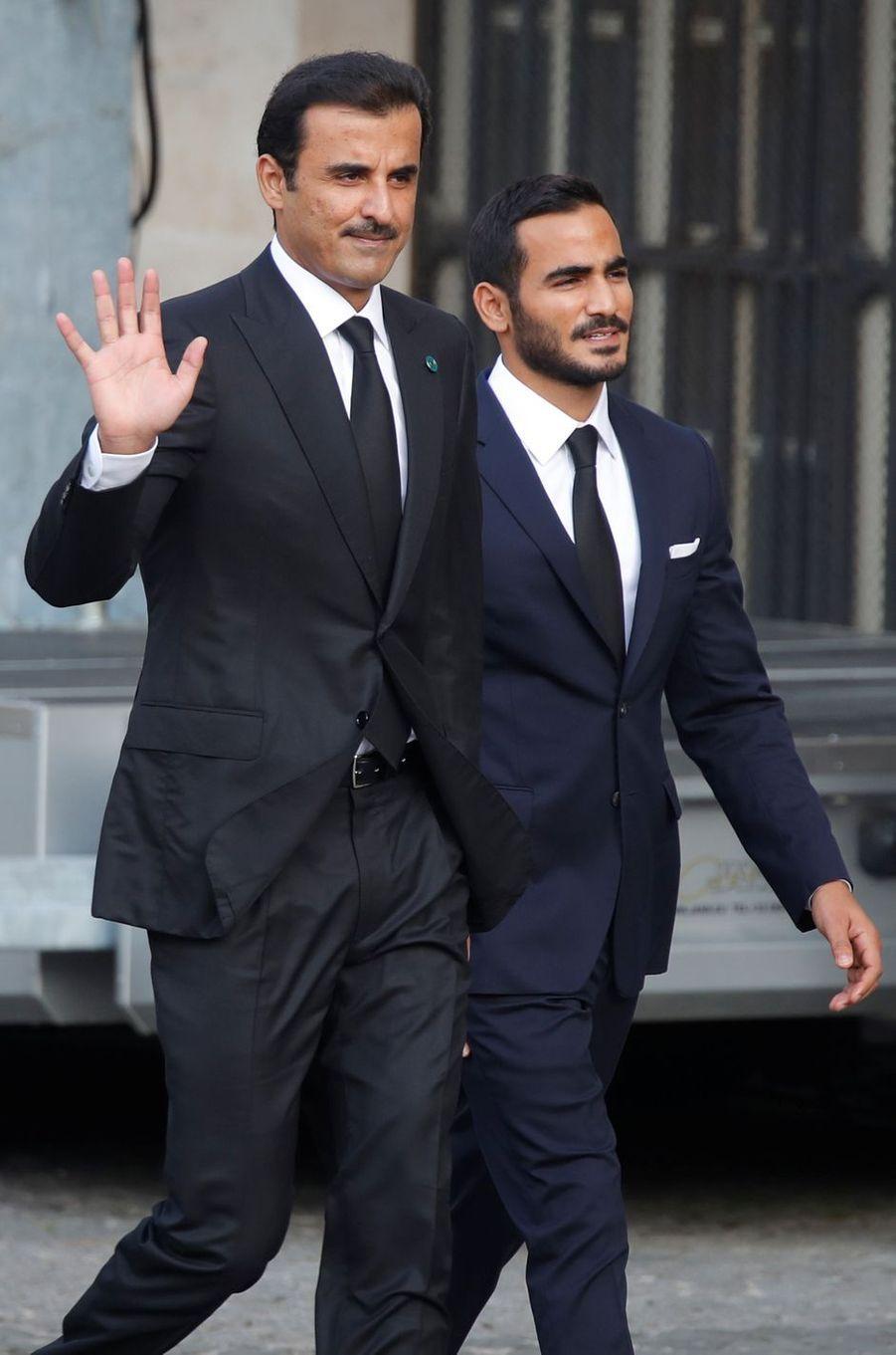 Le cheikh Tamim bin Hamad al-Thani, émir du Qatar, aux obsèques de Jacques Chirac à Paris, le 30 septembre 2019