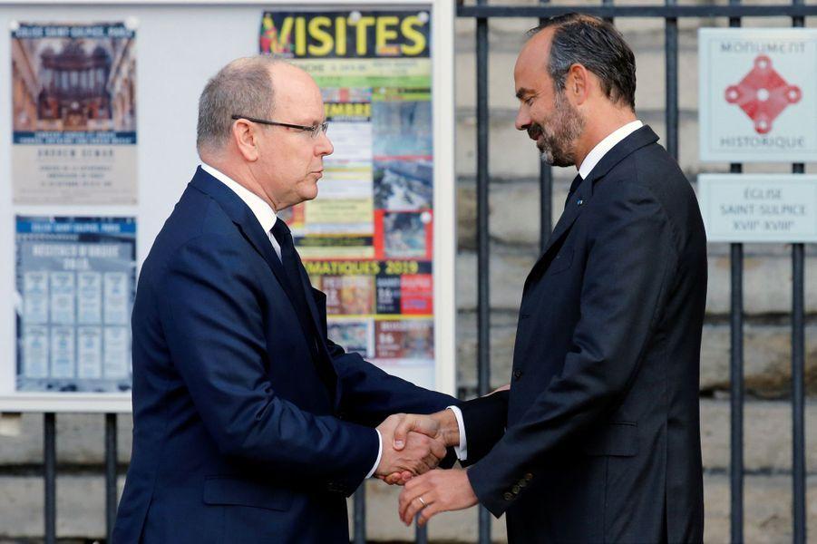 Le prince Albert II de Monaco avec Edouard Philippe à Paris, le 30 septembre 2019