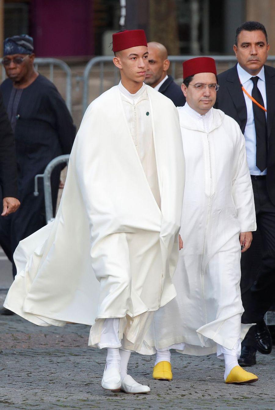 Le prince Moulay El Hassan du Maroc aux obsèques de Jacques Chirac à Paris, le 30 septembre 2019