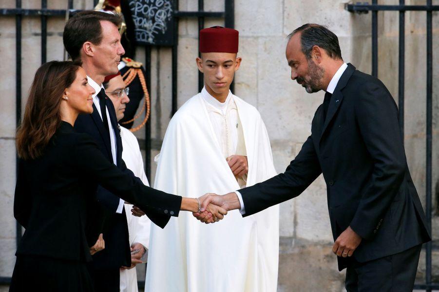 La princesse Marie et le prince Joachim de Danemark et le prince Moulay El Hassan du Maroc avec Edouard Philippe à Paris, le 30 septembre 2019