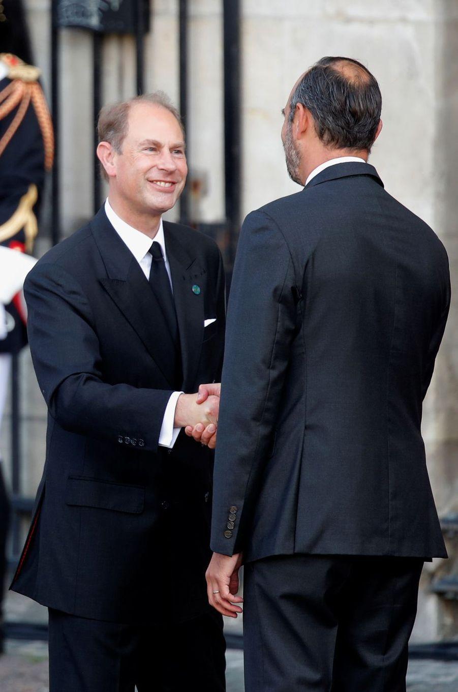 Le prince Edward d'Angleterre avec Edouard Philippe à Paris, le 30 septembre 2019