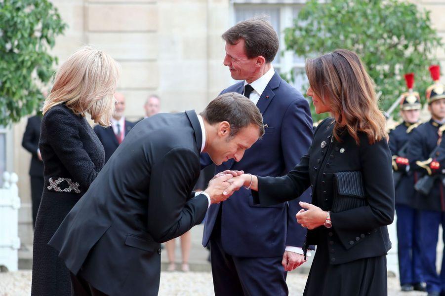 La princesse Marie et le prince Joachim de Danemark avec Emmanuel et Brigitte Macron au Palais de l'Elysée à Paris, le 30 septembre 2019