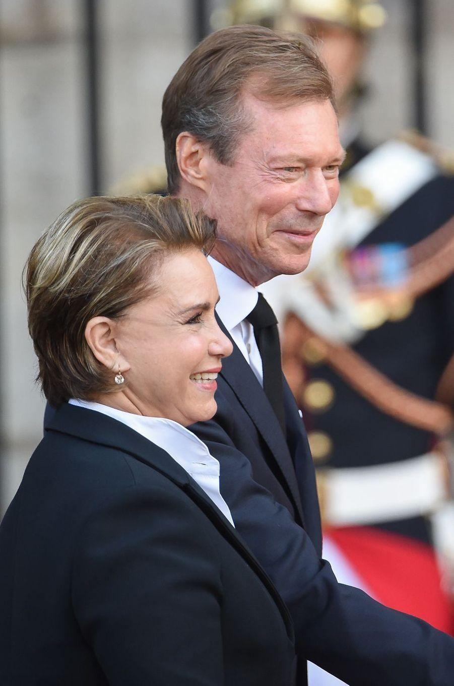 Le grand-duc Henri et la grande-duchesse Maria Teresa de Luxembourg aux obsèques de Jacques Chirac à Paris, le 30 septembre 2019