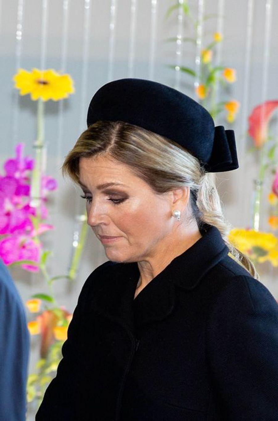 La reine Maxima des Pays-Bas à la commémoration de la catastrophe du vol MH17 à Amsterdam, le 10 novembre 2014