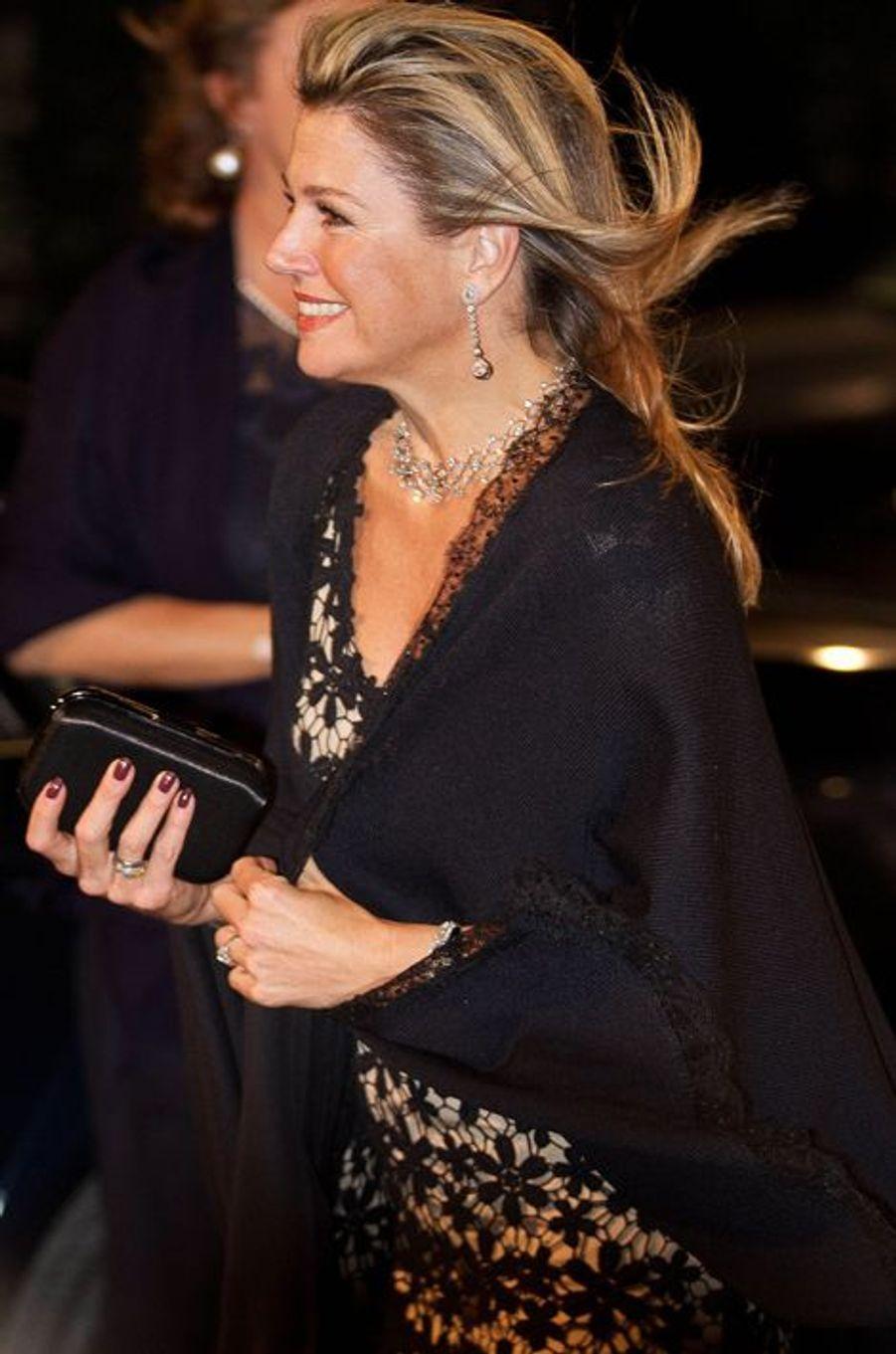 La reine Maxima des Pays-Bas à la soirée de gala du Concours international de piano Franz Liszt à Utrecht, le 8 novembre 2014