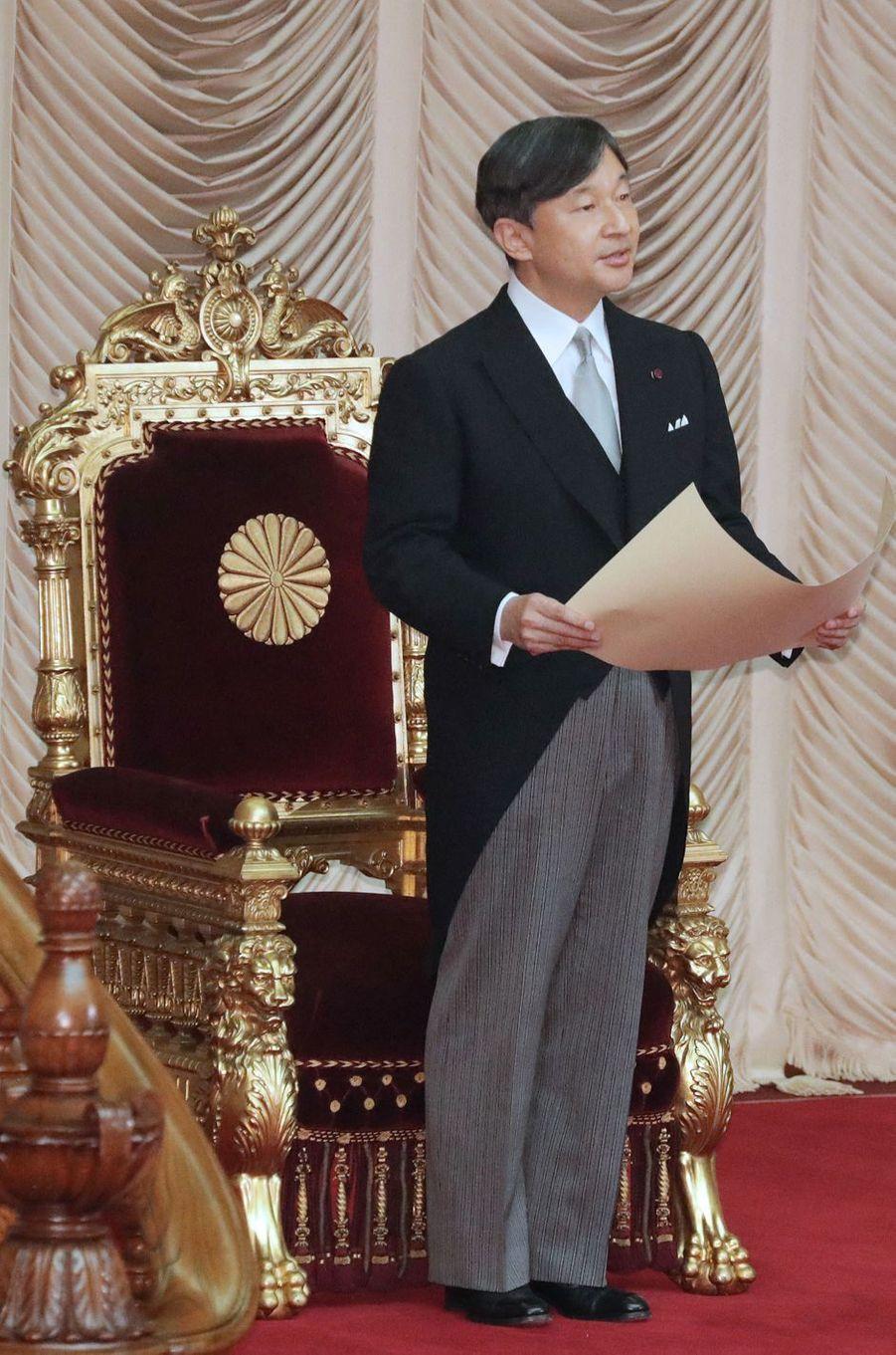 L'empereur Naruhito du Japon prononce son premier discours au Parlement à Tokyo, le 1er août