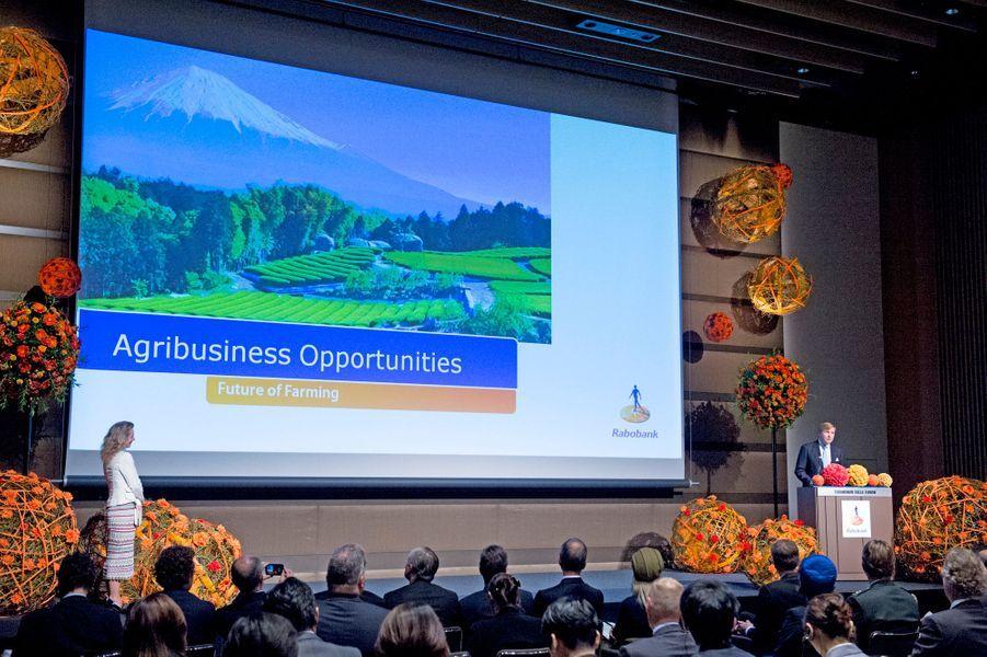 Le roi Willem-Alexander des Pays-Bas et la reine Maxima participent à une conférence en lien avec l'agroalimentaire à Tokyo, le 31 octobre 2014