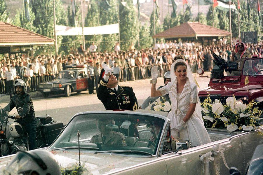 Rania Al-Yassin et le prince Abdallah de Jordanie, le jour de leur mariage, le 10 juin 1993