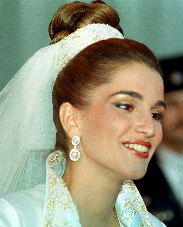 Rania Al-Yassin le jour de son mariage avec le prince Abdallah de Jordanie, le 10 juin 1993