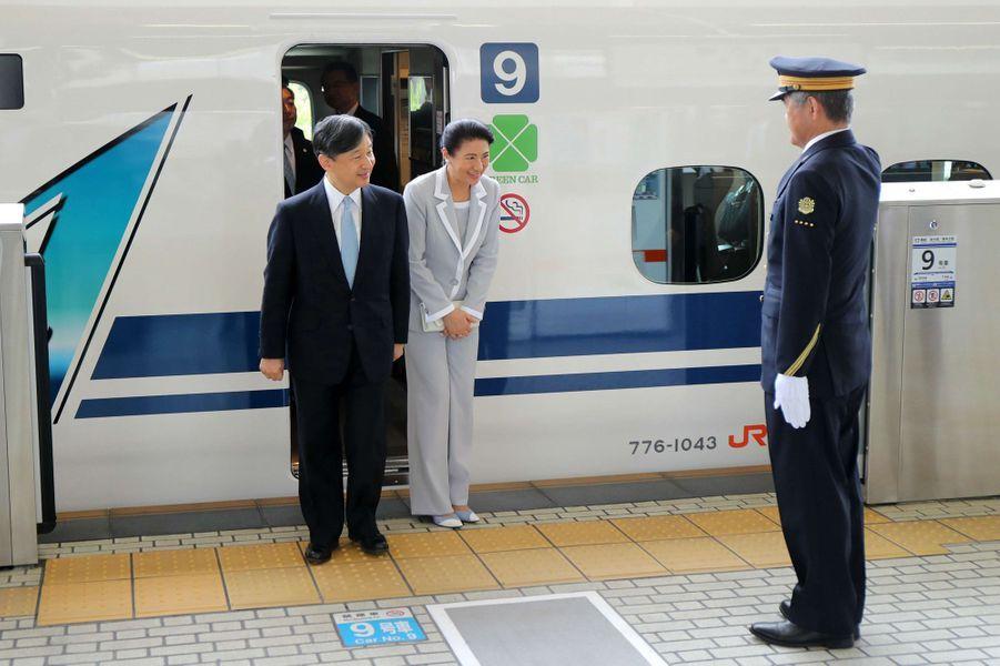 L'impératrice Masako et l'empereur Naruhito du Japon à leur arrivée à Nagoya, le 1er juin 2019