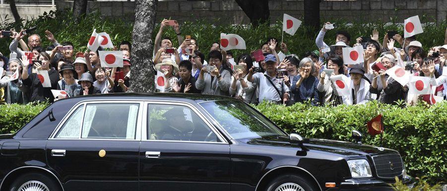 L'impératrice Masako et l'empereur Naruhito du Japon salués par la foule à Nagoya, le 1er juin 2019