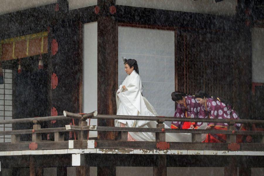 L'impératrice Masako du Japon lors de la cérémonie shinto à Tokyo, le 22 octobre 2019