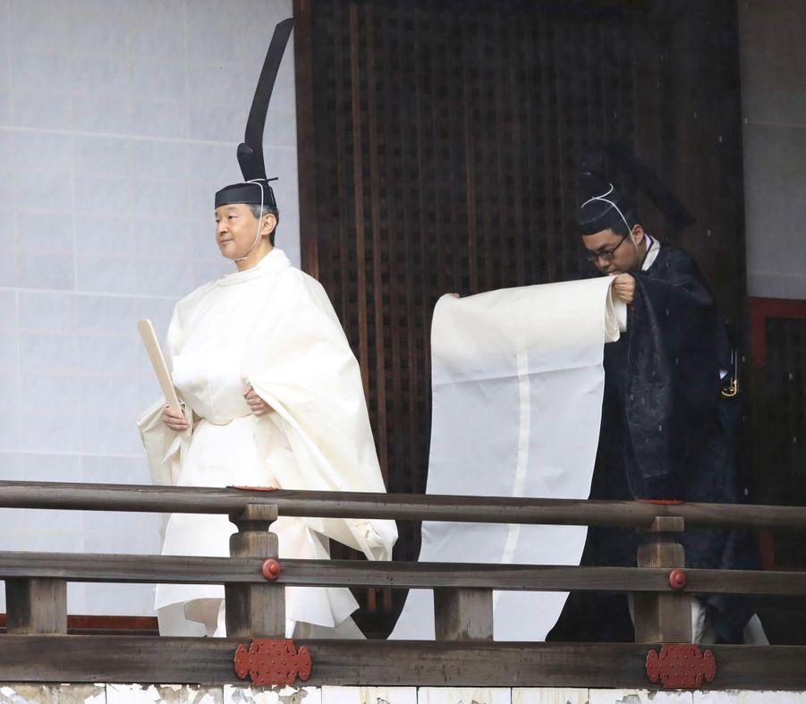 L'empereur Naruhito du Japon lors de la cérémonie shinto à Tokyo, le 22 octobre 2019
