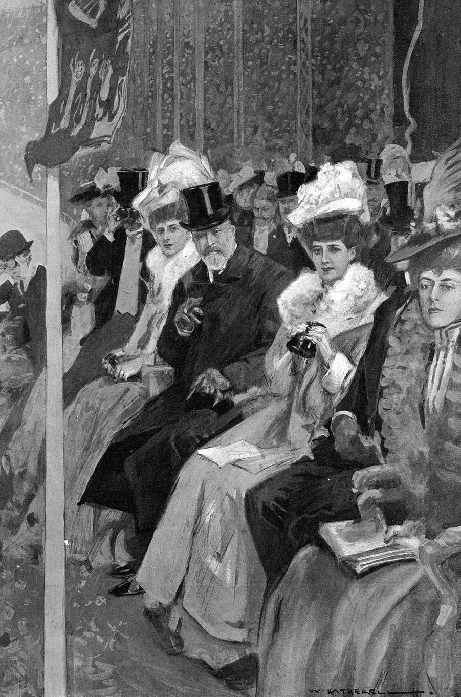 Le roi Edward VII et la reine Alexandra lors de la cérémonie d'ouverture des JO de Londres, le 27 avril 1908