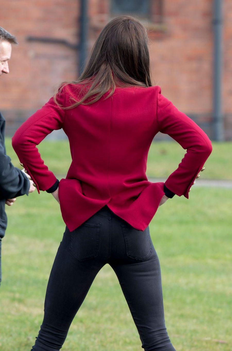 La duchesse Catherine de Cambridge de dos à Wittering, le 14 février 2017