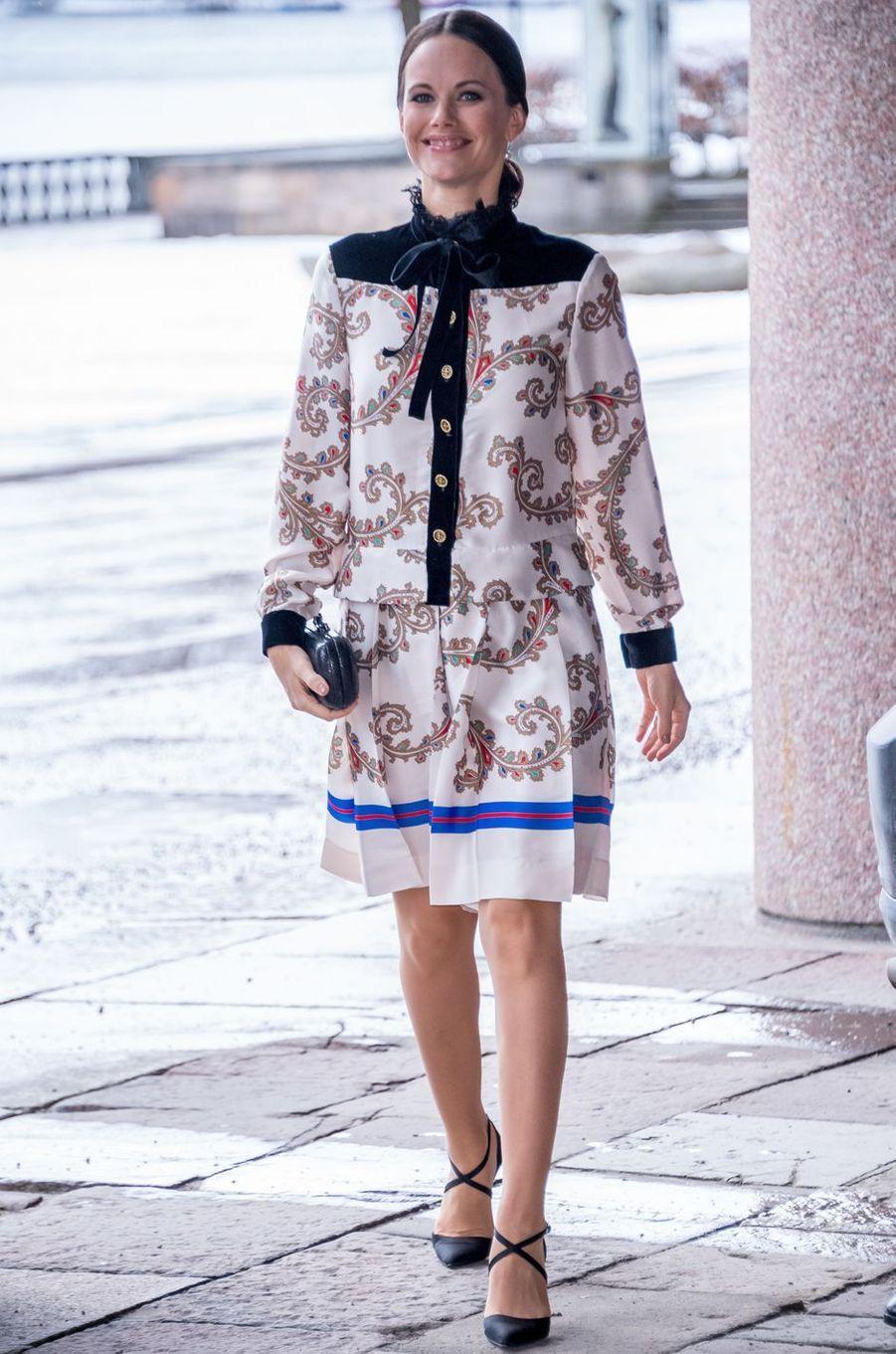 La princesse Sofia de Suède dans une robe Philosophy Di Lorenzo Serafini à Stockholm, le 21 février 2017