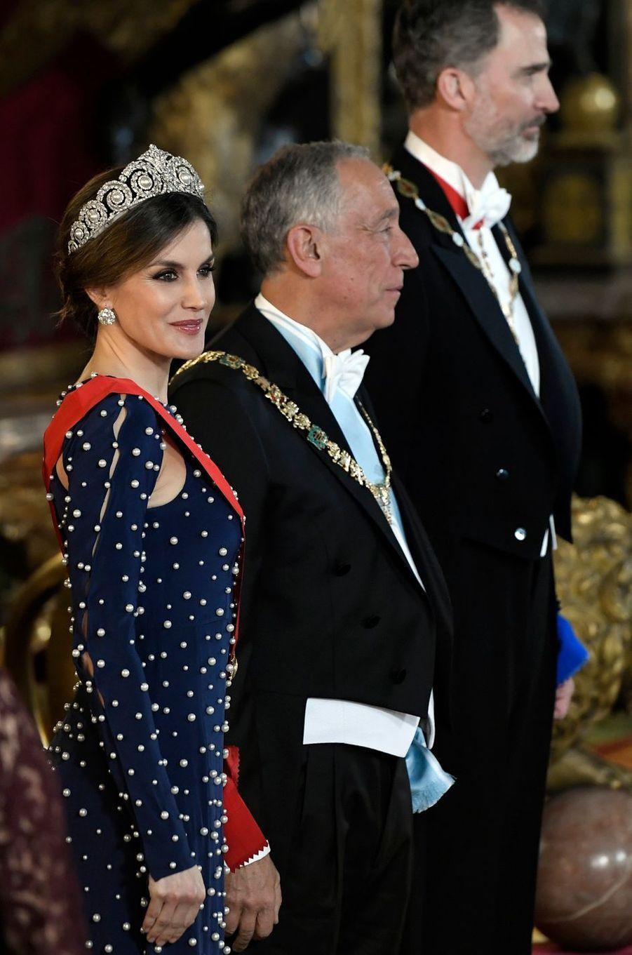 La reine Letizia d'Espagne, le 16 avril 2018