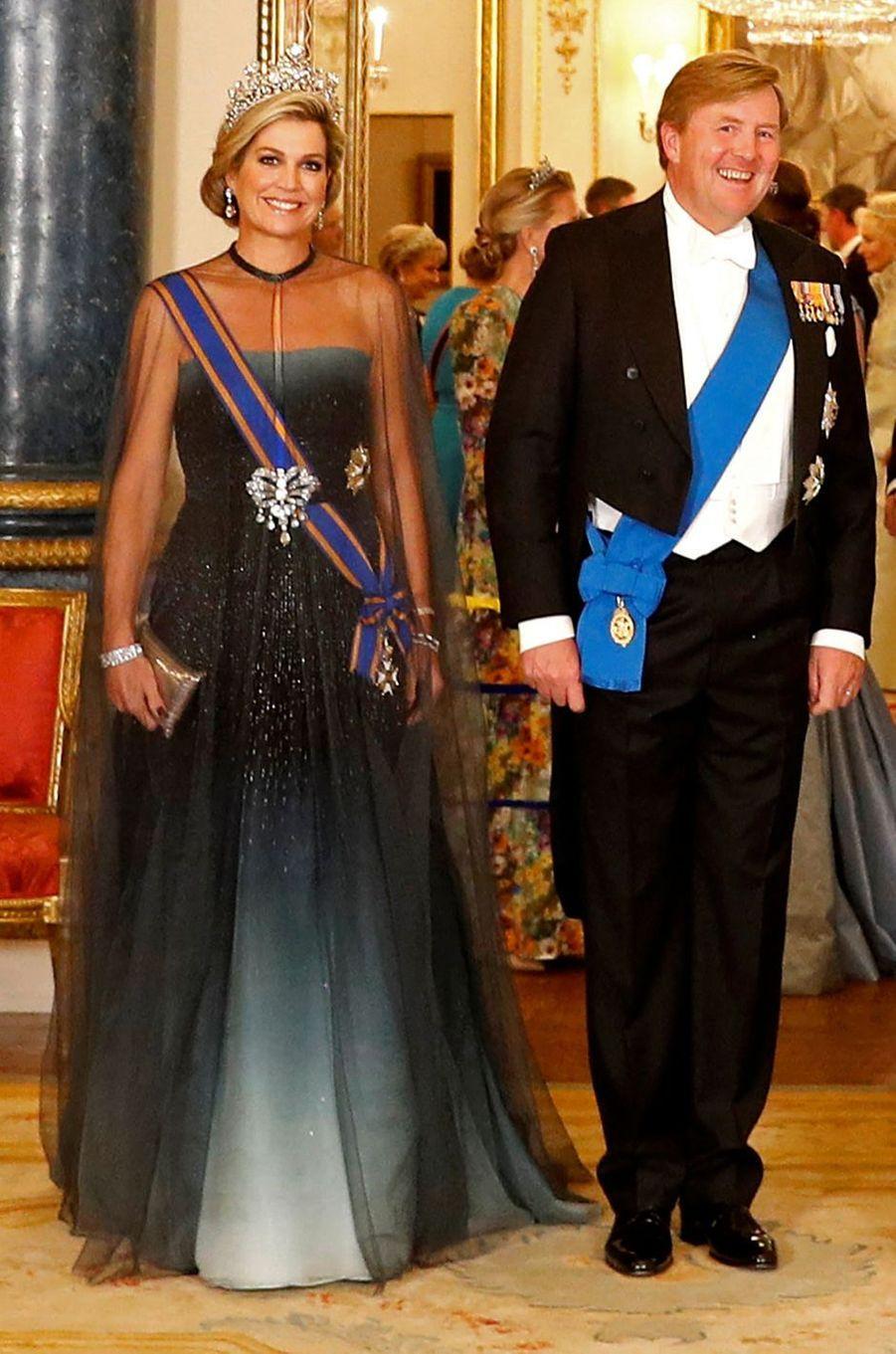 La reine Maxima des Pays-Bas, dans une robe Jan Taminiau, le 23 octobre 2018