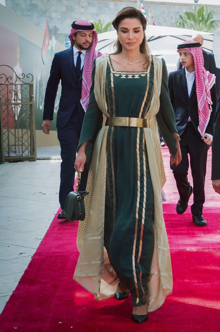 La reine Rania de Jordanie dans une robe Fedaa Assaf, le 25 mai 2019 à Amman