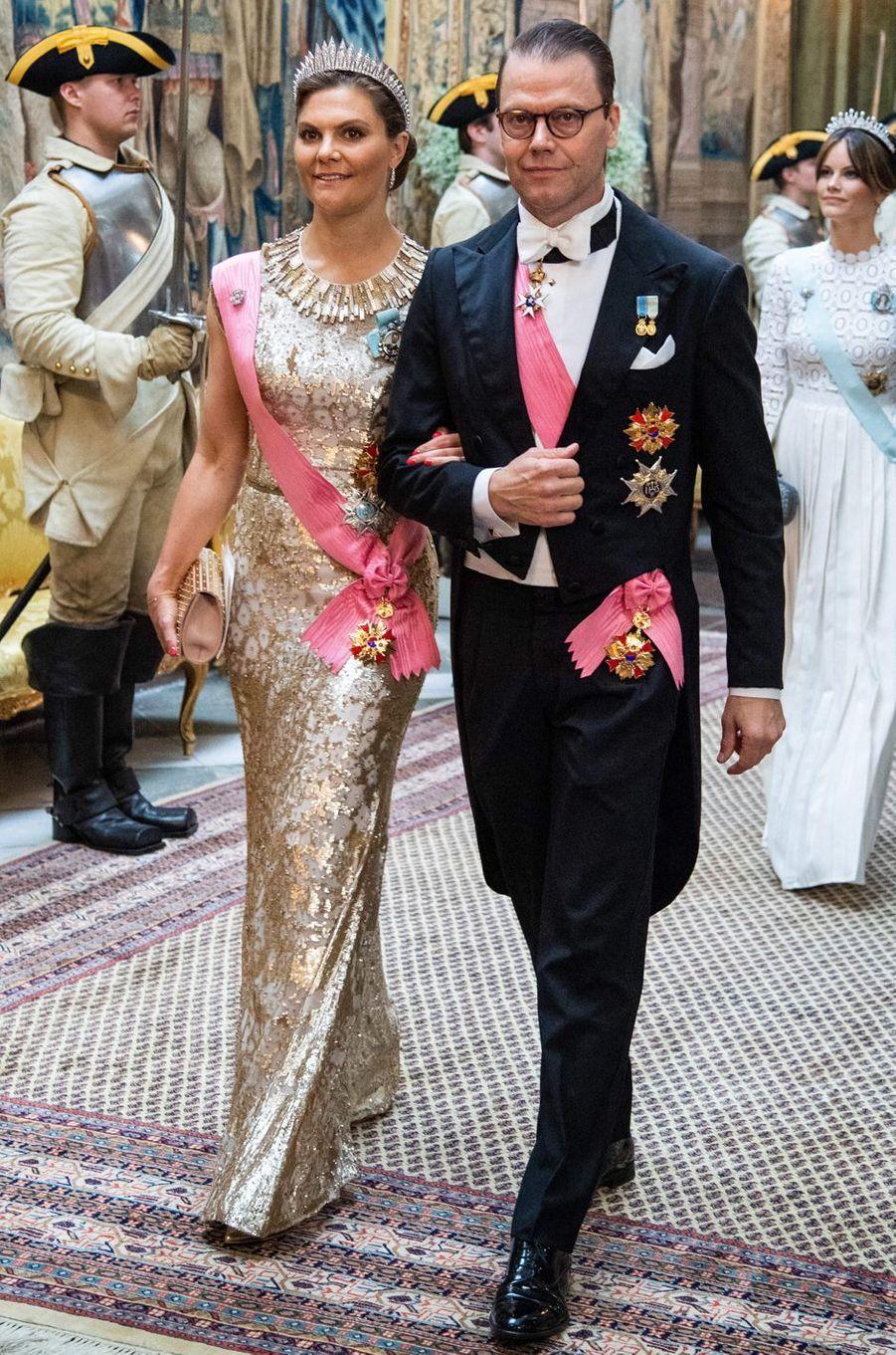 La princesse Victoria de Suède dans une robe Jenny Packham, à Stockholm le 14 juin 2019