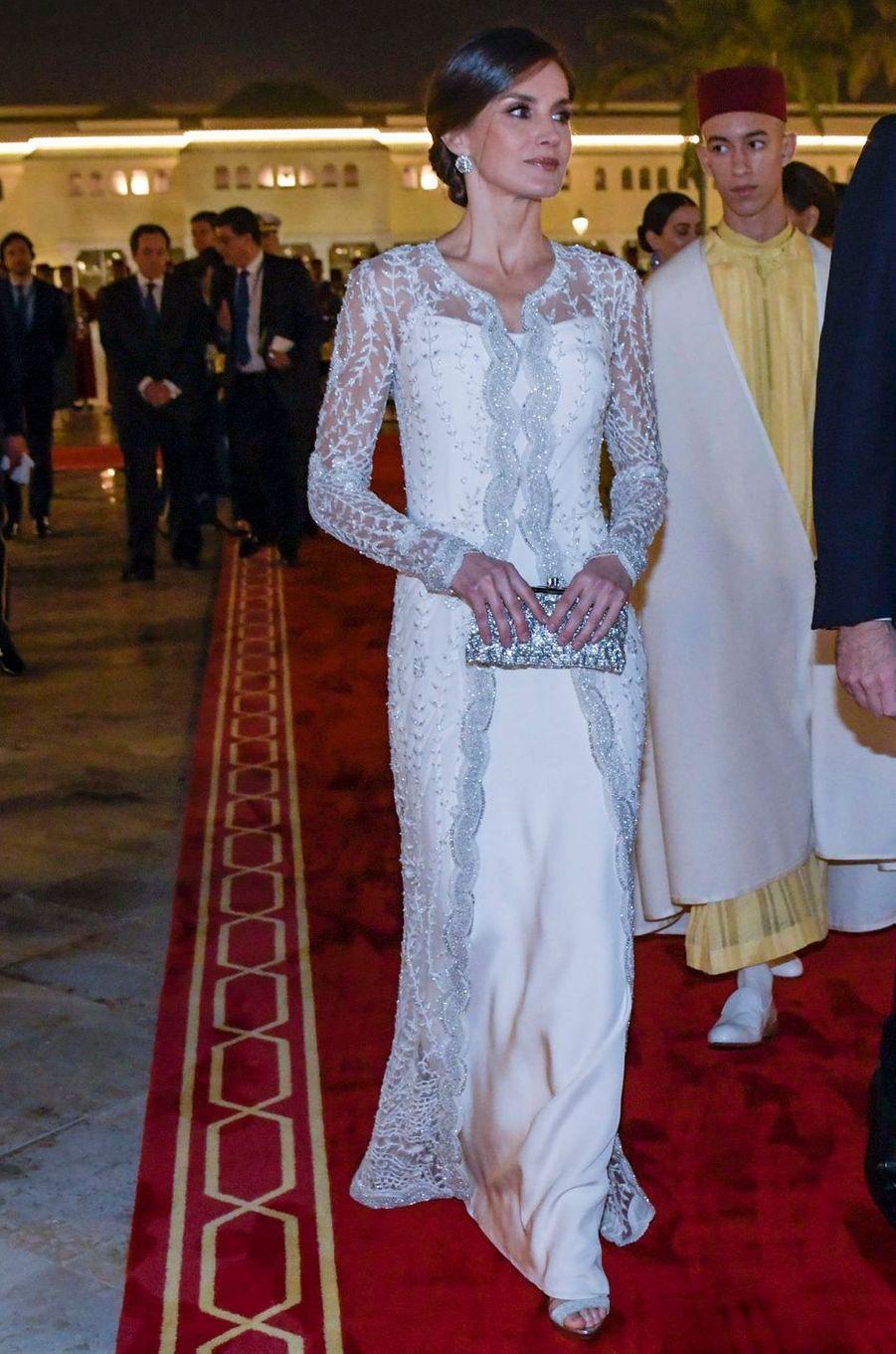 La reine Letizia d'Espagne dans une robe Felipe Varela, le 13 février 2019 à Rabat