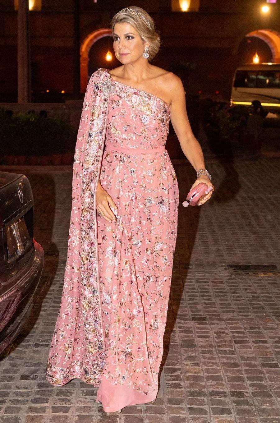La reine Maxima des Pays-Bas dans une robe-sari de Jan Taminiau, le 14 octobre 2019 à New Delhi