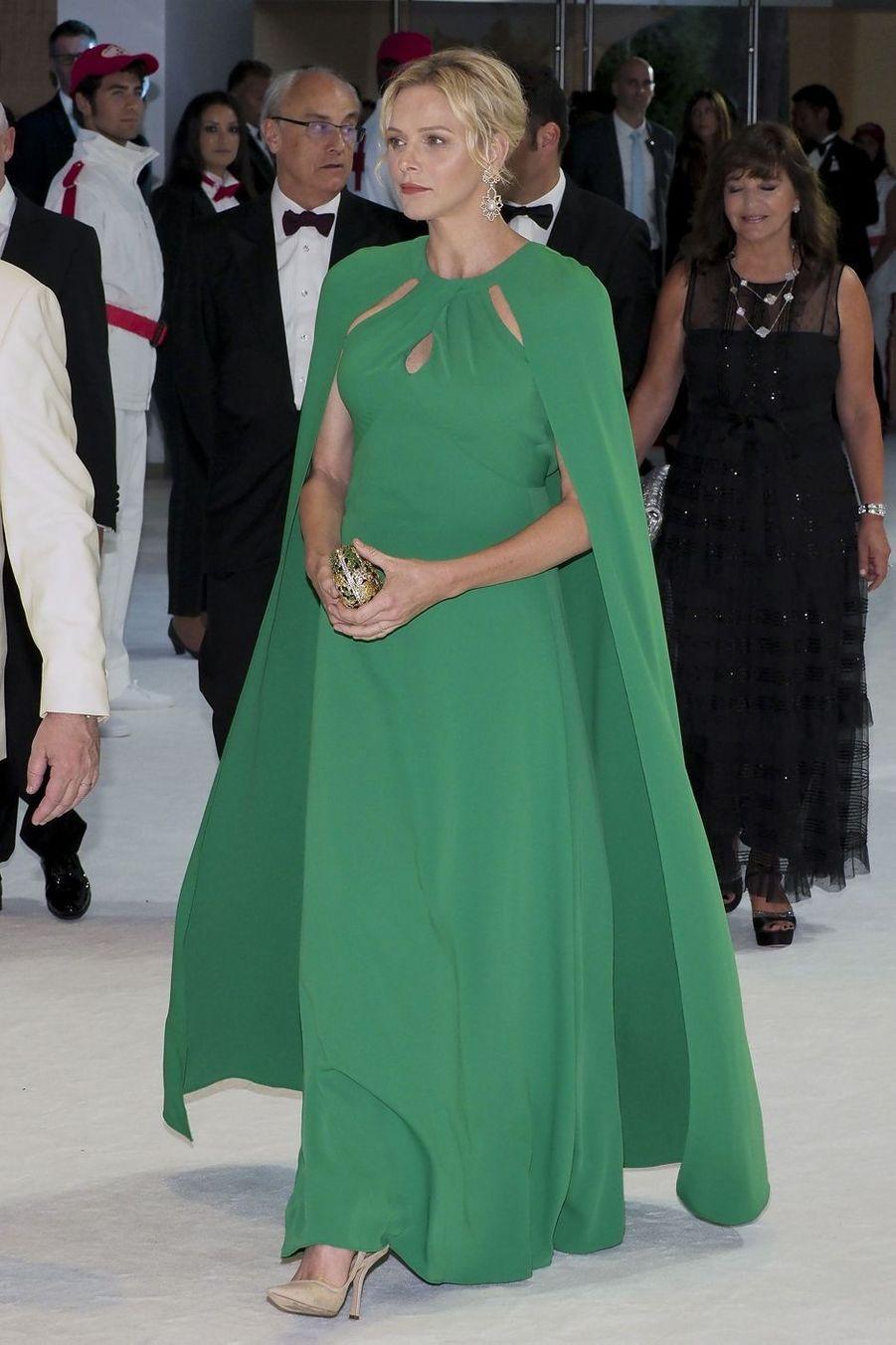 La princesse Charlène de Monaco dans une robe Marchesa, le 26 juillet 2019 à Monaco