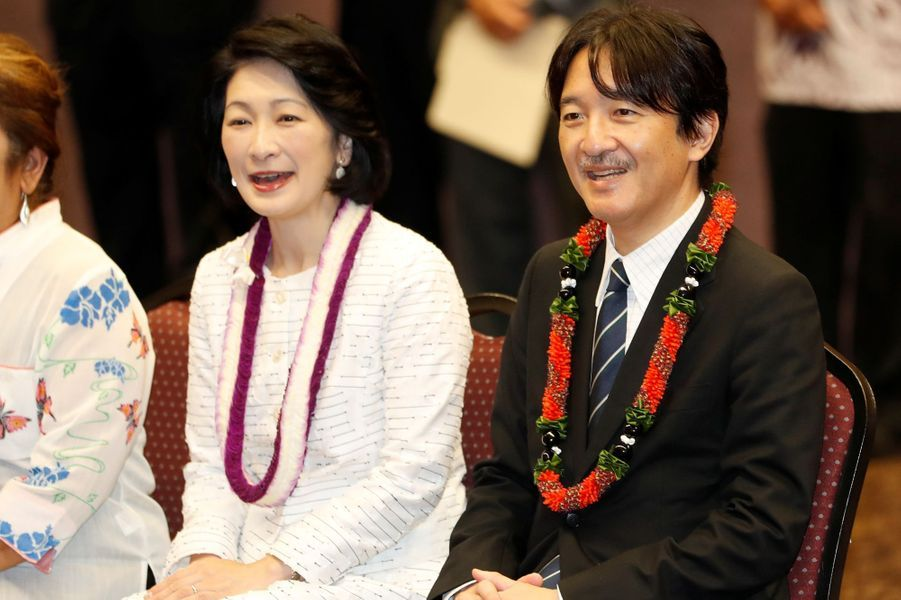 La princesse Kiko et le prince Fumihito d'Akishino du Japon à Waipahu, le 8 juin 2018