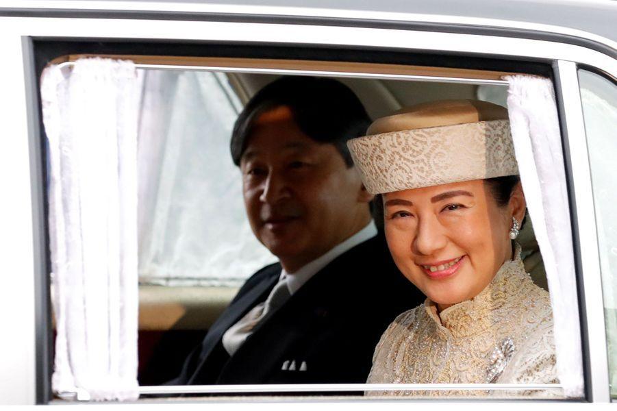 La princesse Masako et le prince Naruhito du Japon arrivent au Palais impérial à Tokyo, le 30 avril 2019