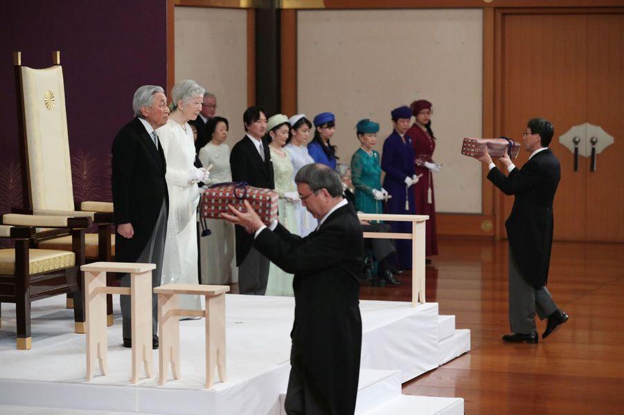 L'empereur Akihito du Japon lors de la cérémonie de son abdication à Tokyo, le 30 avril 2019