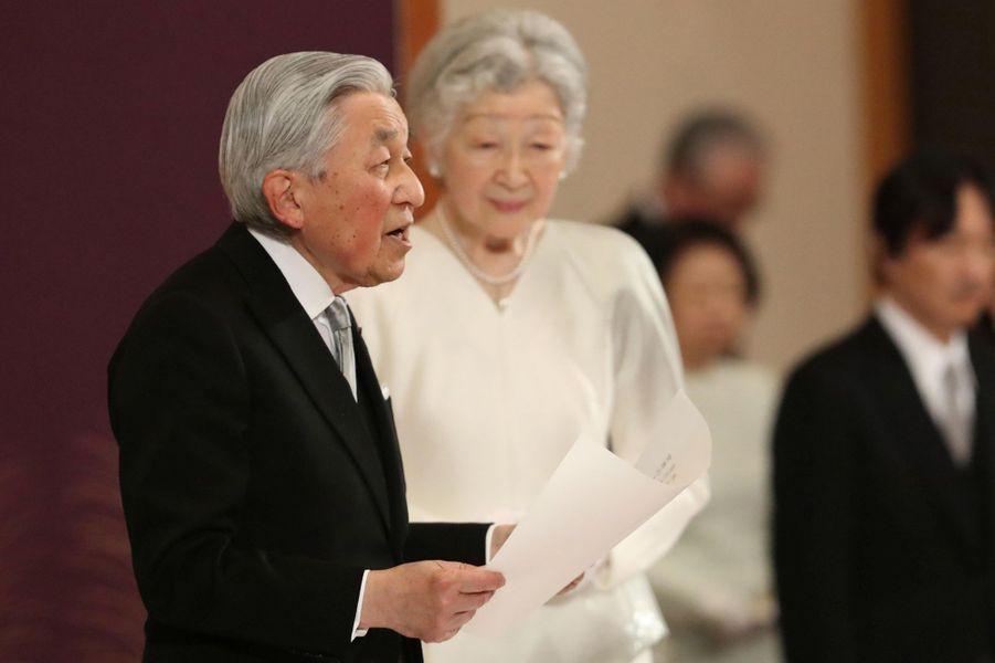 L'empereur Akihito et l'impératrice Michiko du Japon à Tokyo, le 30 avril 2019
